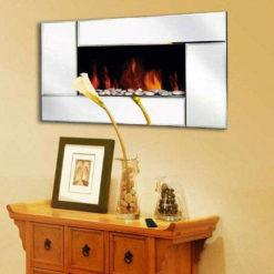 Wall Mounted Glass Mirror Fireplace